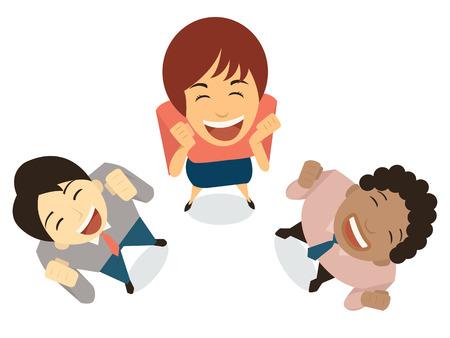 reir: Empresarios diversos en la expresión de asombro, feliz, sorprendente, emocionado, alegre, divertirse, ganar. Top ángulo de visión. Diseño plano.