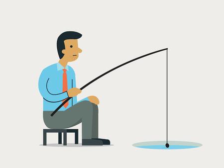 ice fishing: Pesca del hombre de negocios de un agujero en el hielo, ilustraci�n abstracta de ser paciente en concepto de inversi�n de las empresas.