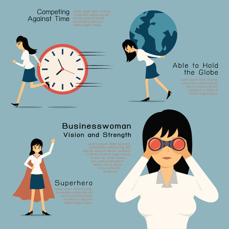 binoculars: Character of Businesswoman in concept of vision and strength, superhero. Flat design in simple design. Illustration