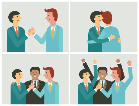 deal in: Character of businessman in cooperation concept. Shanking hands, teamwork, partnership, making a deal. Flat and simple design.