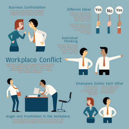 negotiator: Set of business conflict concept at the workplace, businessman, businesswoman, colleague, team. Flat design.