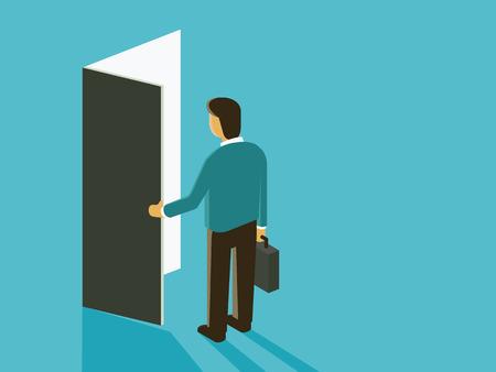 portone: Uomo d'affari con apertura porta. Design piatto in stile semplice. Vettoriali
