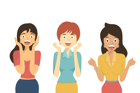 joy: Character of diverse woman in excited, happy,  shocking, amazement, screaming, winning, joyful, and surprised. Flat design. Isolated on white.