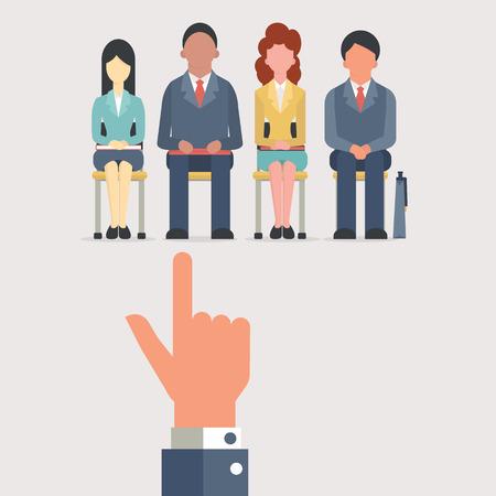 entrevista: Mano que señala a la gente de negocios que se sientan en silla de espera para la entrevista de trabajo, el concepto de contratación. Diseño plano.