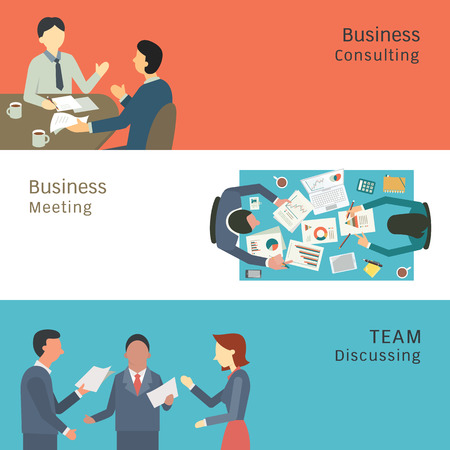consulting team: Illustration of business conversation concept, partner consulting, meeting, talking and discussing. Simple and flat design.