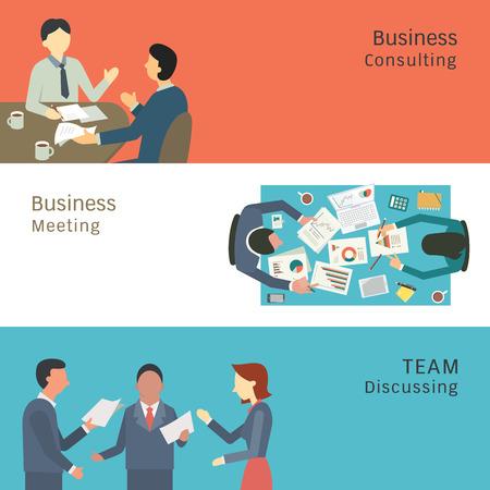 Ilustrace obchodní konverzace koncepce, partnerské poradenství, setkání, mluví a diskutují. Jednoduchý a plochý design.