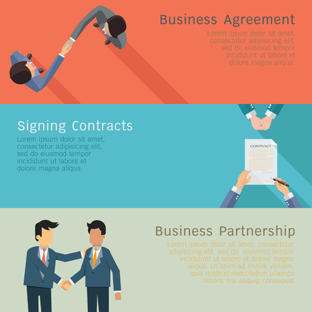Illustration set of business concept in agreements, handshake, corporation, signing contracts, partnership. Flat design. Vettoriali
