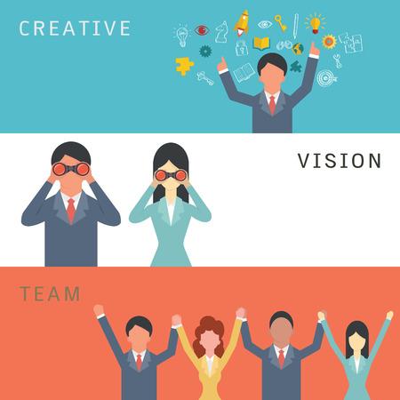 juntos: Ilustración vectorial Conjunto de negocio creativo, visión y concepto de trabajo en equipo. Personaje de dibujos animados del hombre de negocios y de la mujer en el diseño simple y plana.