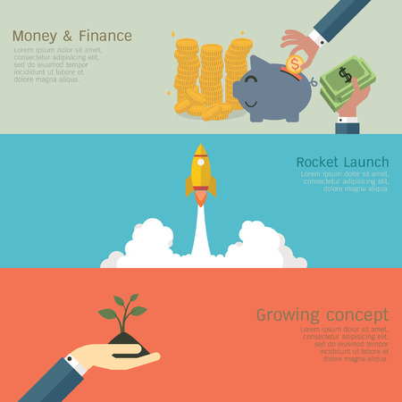 growing money: Vector illustration of business growing concept set, money and finance, rocket launch, hand with growing sprout. Flat design.