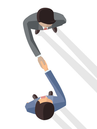 business deal: Vector illustration of two businessman shaking hands, business concept in partnership, agreement, or making deal. Top view. Flat design.