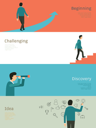 discovering: Abstract Illustration set of businessman walking on arrow, step up on stair, with telescope, and standing writing on wall. Simple and flat design.