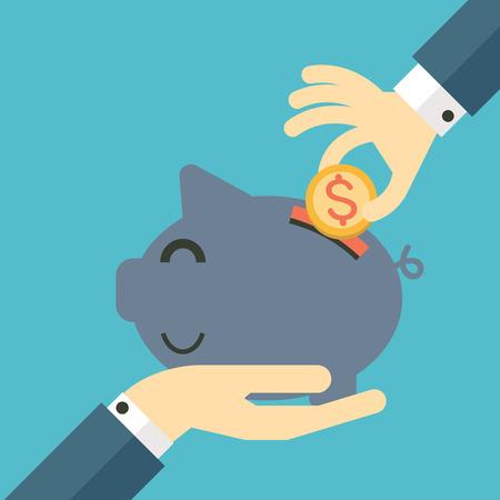 Businessman hand putting coin into piggy bank, business concept in saving money. Flat design.