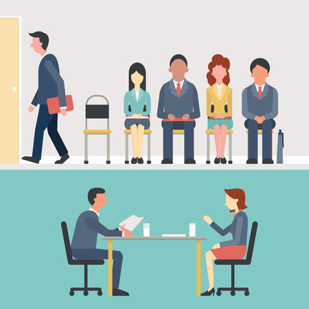 interview: Business people, man and woman sitting and waiting for interview, recruitment concept. Flat design.