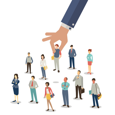 culture character: Businessman hand picking up selected man from group of businesspeople. Recruitment concept. Flat design. Illustration