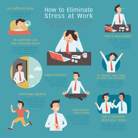 Infografía de cómo eliminar o reducir el estrés en el lugar de trabajo. Carácter simple con diseño plano.