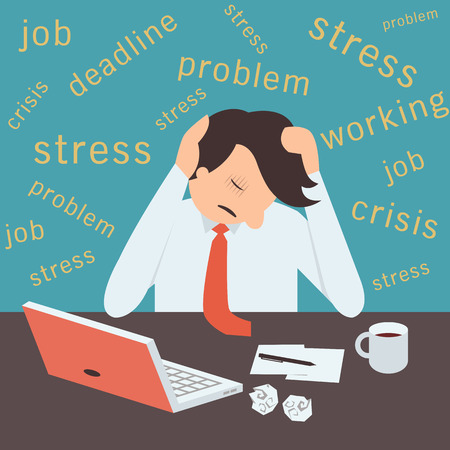 Stressed businessman, sitting on desk in workplace with stressful background. Vectores