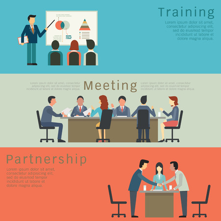 aprendizaje: Conjunto de concepto de negocio, formación, encuentro, acuerdo o alianza. Carácter de los empresarios, grupo, diverso, multiétnico. Diseño simple y plana. Vectores