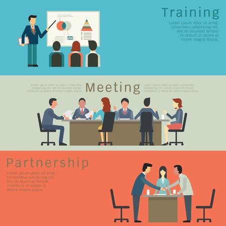 Zestaw pomysł na biznes, szkolenia, spotkania, umowy lub partnerstwa. Charakter przedsiębiorców, grupy, zróżnicowane, wielonarodowego. Prosta i płaska. Ilustracje wektorowe
