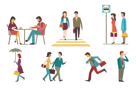 coffee to go: Character set of businesspeople, man and woman in outdoor acitivity. Sitting in coffee shop, walking across zebra crossing, waiting at bus stop, go to work, running, smoking, chatting. Flat design.
