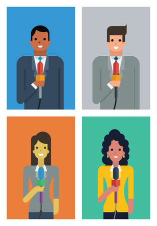 newsreader: Illustration character of newsreader or reporter, man and woman, diverse, multi-ethnic, flat design with simple style. Illustration