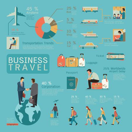aeroplano: Infografica di viaggi d'affari concetto, design piatto, personaggio imprenditori. Vettoriali