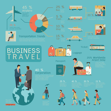 luggage tag: Infographics of business travel concept, flat design, businesspeople character.