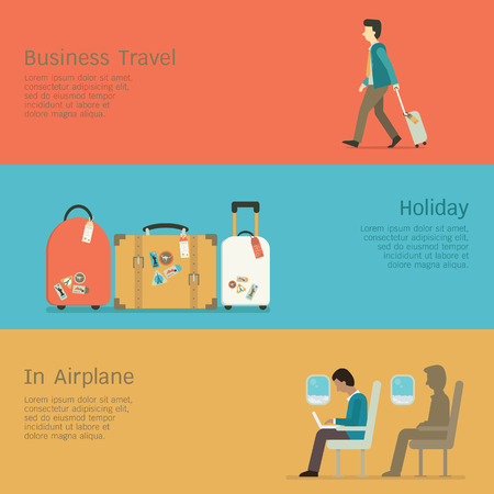 Vector illustration set of business travel concept, businessman walkin at airport, luggages for holiday, man using laptop in the airplane. Flat design.