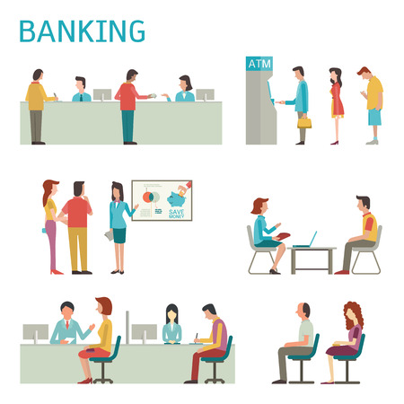 client: Flat design illustration of banking concept set, bank interior, counter desk, cashier, consulting, presenting, queuing for ATM.