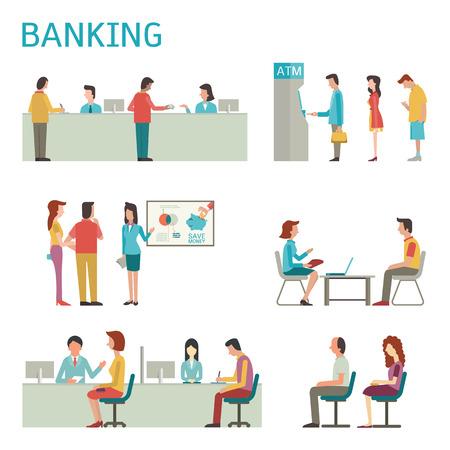 ilustración de diseño plano de conjunto concepto de banca, el interior del banco, escritorio contrario, cajero, consultoría, presentando, haciendo cola para ATM. Ilustración de vector