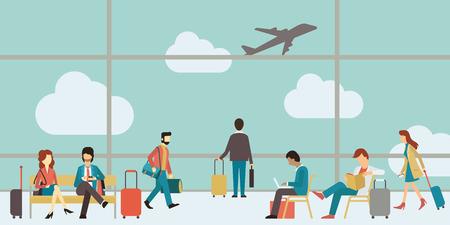旅遊: 商務人士坐和走在機場候機大廳,商務旅行的概念。扁平設計。