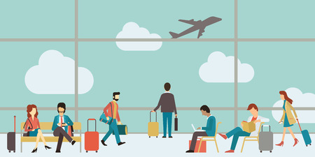 airplane window: Business people sitting and walking in airport terminal, business travel concept. Flat design.