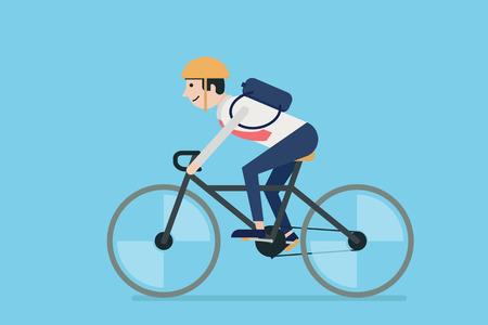 andando en bicicleta: Empresario montar en bicicleta al trabajo. Diseño plano.