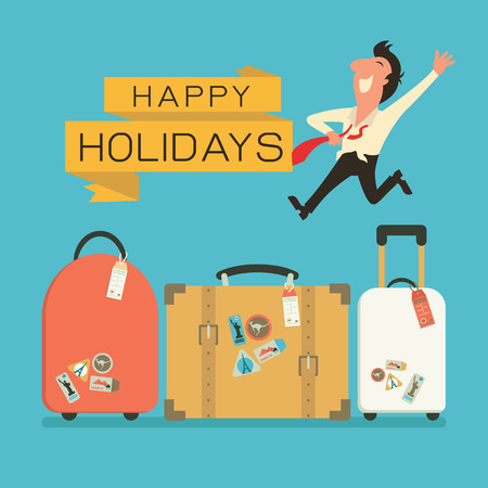 Jumping businessman in happy feeling with luggage for holiday traveling. Flat design. Vectores