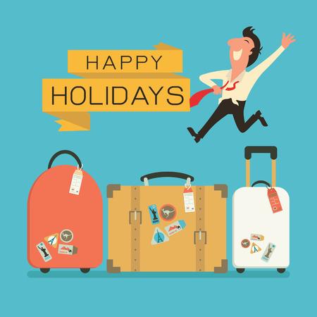 maleta: Saltando hombre de negocios en sentimiento de felicidad con el equipaje de viaje de vacaciones. Diseño plano.