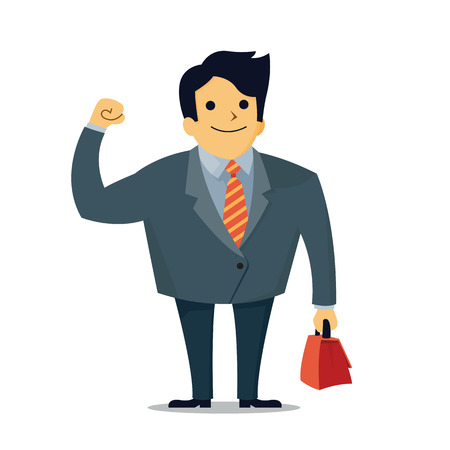 middle age: Vector illustration of businessman in middle age, holding fist with carrying briefcase, business concept in confident. Illustration