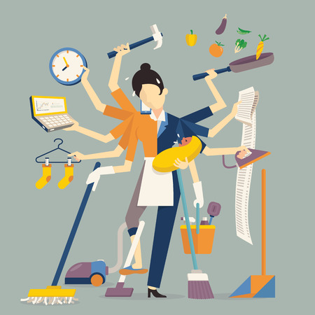 Vector illustration in super mom concept, many hands working with very busy business and housework part, feeding baby, cleaning house, cooking, doing washing, working with laptop. Flat design.