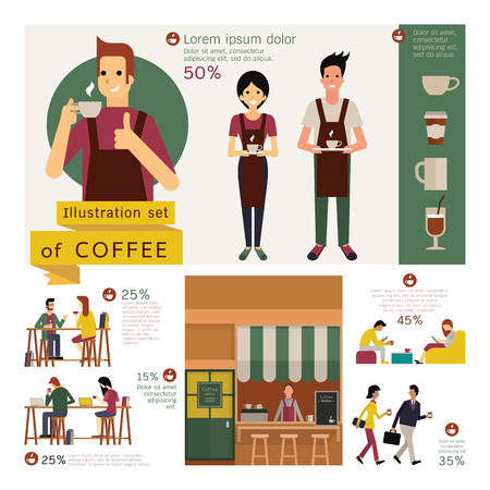 Illustration element of coffee concept, exterior store, waiter and waitress, coffee table and chair, various customer. Simple character with flat design. Vettoriali