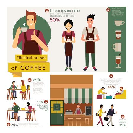 store: Elemento illustrazione del concetto di caffè, negozio esterno, cameriere e il cameriere, un tavolino e una sedia, vari clienti. Carattere semplice con il design piatto.