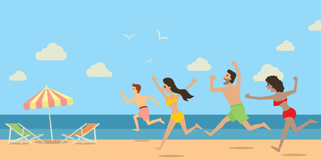 young teen: Diverse people, man and woman, running and jumping to the beach and sea in happy holiday concept. Flat design. Illustration