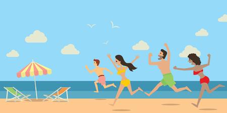 tanzen cartoon: Unterschiedliche Menschen, Mann und Frau, laufen und springen auf den Strand und das Meer in der schönen Urlaub Konzept. Flache Bauweise.