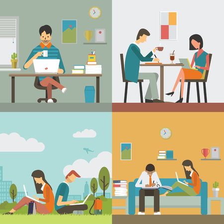 at leisure: Businesspeople, man and woman, working in various workplace, in office, restaurant or coffee shop, public park, and work at home. Flat design, diverse character.