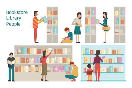 Ilustración vectorial de la librería, biblioteca, estante, varios carácter de la gente, diversa y multiétnica, adulto y adolescente, y el libro. Diseño plano. Cada capa separada, fácil de usar. Ilustración de vector
