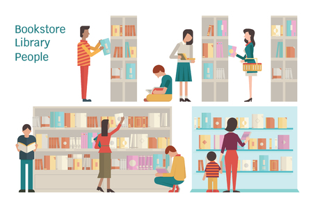 aprendizaje: Ilustración vectorial de la librería, biblioteca, estante, varios carácter de la gente, diversa y multiétnica, adulto y adolescente, y el libro. Diseño plano. Cada capa separada, fácil de usar. Vectores