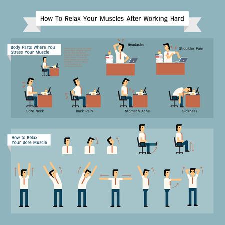 Vektor teckenuppsättning av affärsman få smärtsamma att arbeta, och olika sätt att frigöra eller slappna av musklerna.
