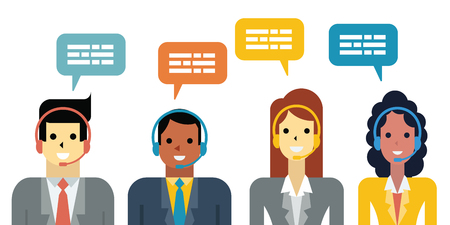 support center: Flat design illustration of diverse business people, man and woman with headset in call center service concept.