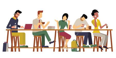 gente adulta: Ilustración vectorial de los huéspedes, el hombre y la mujer, disfrutar de un café en el bar de madera. Carácter diverso y milti étnica, diseño plano, estilo vintage. Vectores