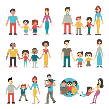 Illustration character of people in happy family concept, father, mother, son and daughter. Diverse, multi-ethnic, american, african, hispanic, asian, caucasian. Flat design.