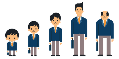 young adult: Business people in generation, from child, boy, teen, young adult, adult, and senior or old age. Suit man, smiling, full-length, flat design.