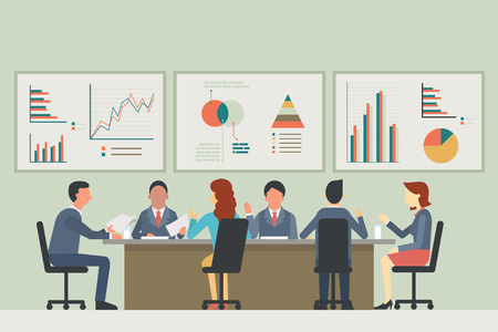 meeting: Businesspeople, man and woman, talking, discussing in meeting room. With chart and graph statistics background. Diverse, muilti-ethnic, flat design.