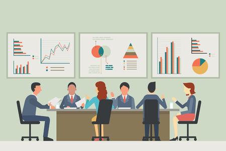 Empresarios, hombre y mujer, hablando, discutiendo en la sala de reuniones. Con fondo de estadísticas de tabla y gráfico. Diseño diverso, muilti-étnico, plano. Ilustración de vector